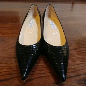 Jimmy Choo black snake pumps